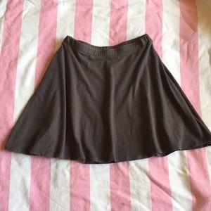 Grey Cotton Skater Skirt